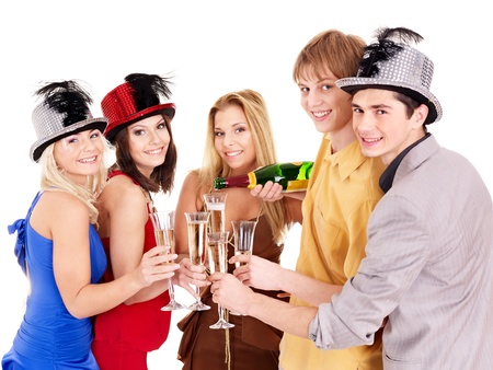 funny glasses: Group young people in party hat drinking champagne. Isolated