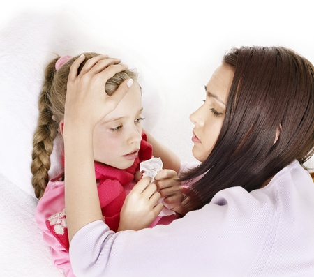 sick girl: Sick little girl with mother. Isolated. Stock Photo