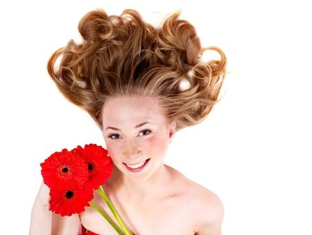 zerzaust: Happy young Woman mit zerzausten Haaren. Isoliert. Lizenzfreie Bilder