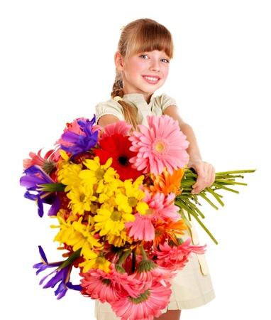 Happy little girl giving bunch of flowers.