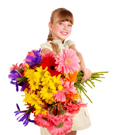 herbera: Happy little girl giving bunch of flowers.
