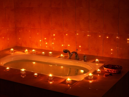 steam room: Interior of sauna tub with candle.