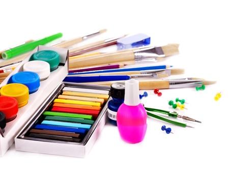 articulos oficina: Fuentes de arte de la escuela.  Aislado. Foto de archivo