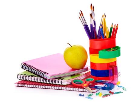 fournitures scolaires: Fournitures scolaires Art. Isol?. Banque d'images