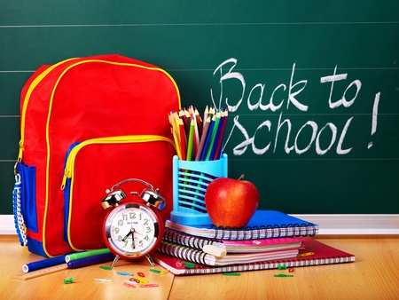craft supplies: Back to school supplies and board. Stock Photo