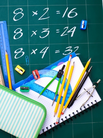 School supplies with formula. Multiplication table on board photo