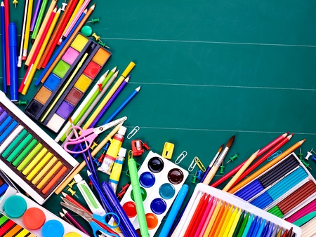 craft supplies: School  office supplies on board. Stock Photo