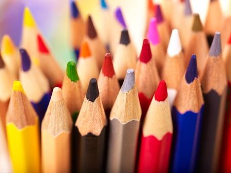 school life: Close up of group art school supplies.