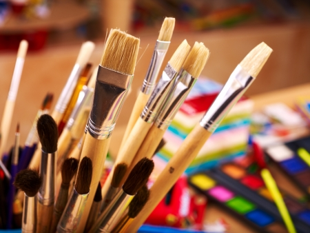 stationery items: Close up of group art  supplies.