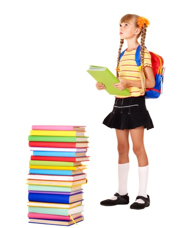 schoolchildren: Child with pile of books. Isolated.