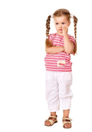 Sulking child with arms crossed isolated on white. photo
