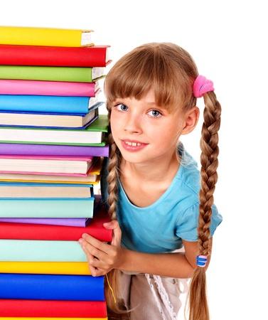 Schoolgirl  holding pile of books. Isolated. Stock Photo - 9899389