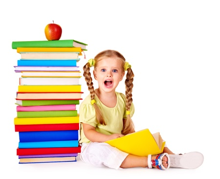 pigtail: Little girl reading  pile of books. Isolated. Stock Photo