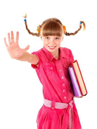 školačka: School girl  holding pile of books. Isolated.