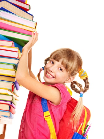 Child with pile of books. Isolated. Stock Photo - 9899446