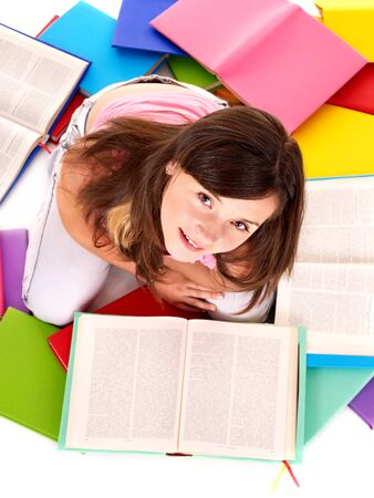 Girl reading open pile book. Stock Photo - 9899397