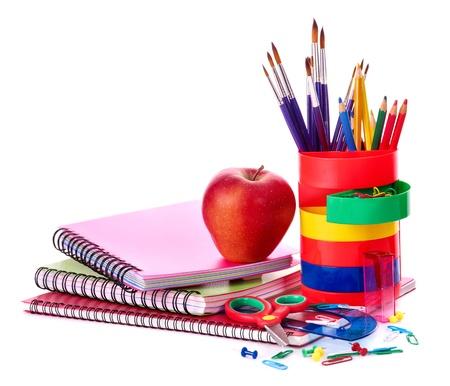 utiles escolares: Arte �tiles escolares. Aislados. Foto de archivo