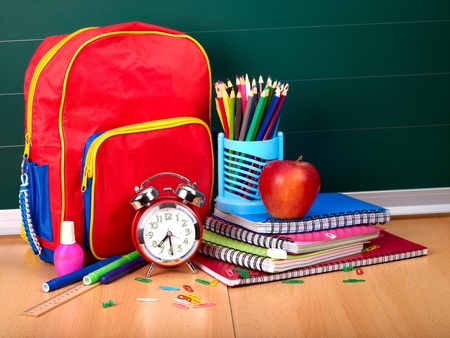 Back to school supplies. Isolated. photo