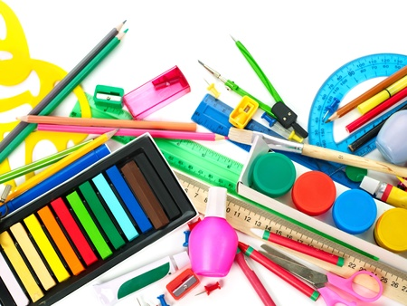 stationery items: Background of group art school supplies.