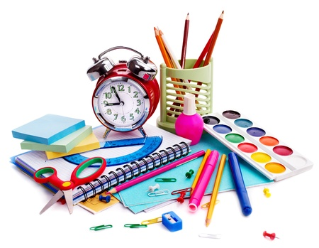 no time: Back to school supplies. Isolated.