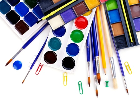 stationery items: School art supplies.  Isolated.