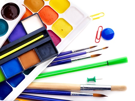Close up  of group art school supplies. photo