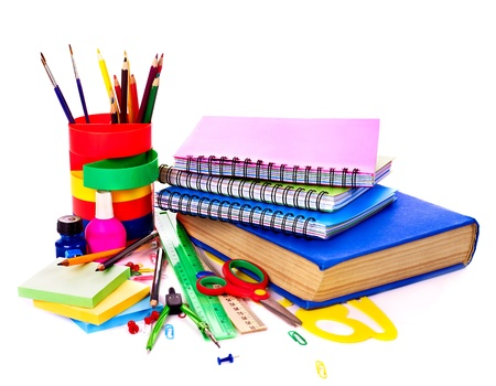 craft supplies: Back to school supplies. Isolated.