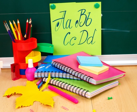school supplies: Back to school supplies. Isolated.