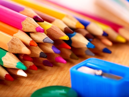 stationery items: Close up of group art school supplies.
