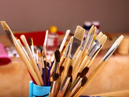 large group of items: Close up of group art  supplies.