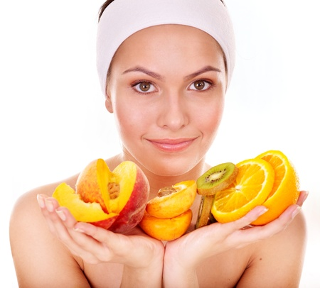 Natural homemade fruit  facial masks . Isolated. Stock Photo - 9899324