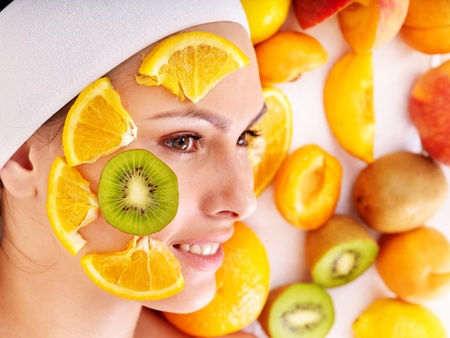facial spa: Natural homemade fruit  facial masks . Isolated. Stock Photo