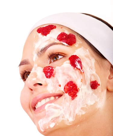 organic raspberry: Natural homemade fruit  facial masks . Isolated. Stock Photo