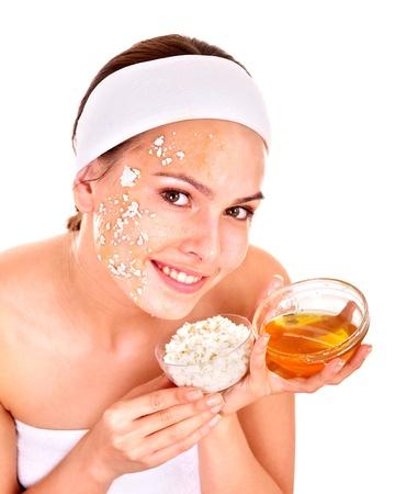 Natural homemade organic  facial masks of honey. Isolated. photo
