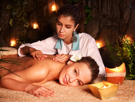 day spa: Young woman getting massage in luxury spa.