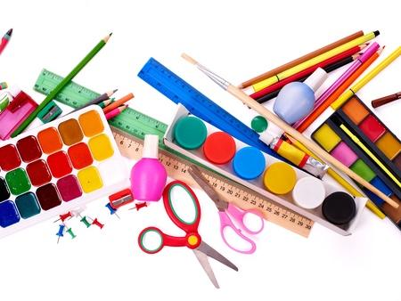 utiles escolares: Fuentes de fondo de la escuela de arte de grupo.