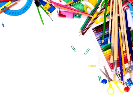 large group of items: School  office supplies. Writing utensils Stock Photo