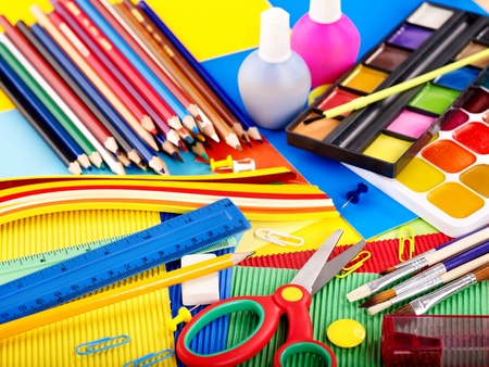 large group of items: Close up of group writing utensils. Stock Photo