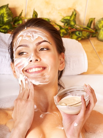 Natural homemade  facial masks at home .  photo