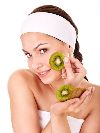 Natural homemade fruit  facial masks . Isolated. Stock Photo - 9972550