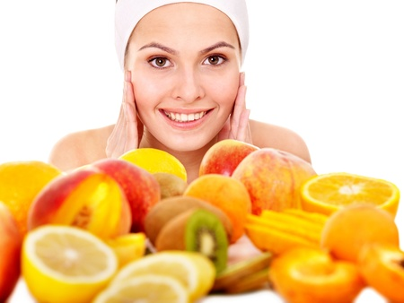Natural homemade fruit  facial masks . Isolated. Stock Photo - 9972607