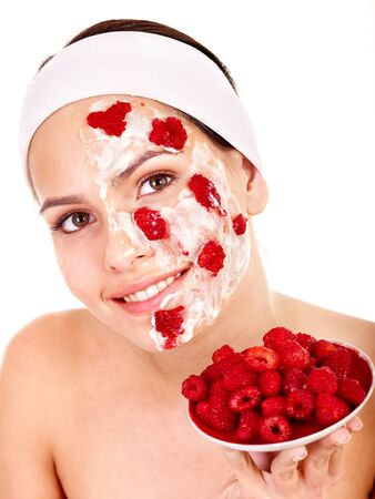 raspberries: Natural homemade fruit  facial masks . Isolated. Stock Photo