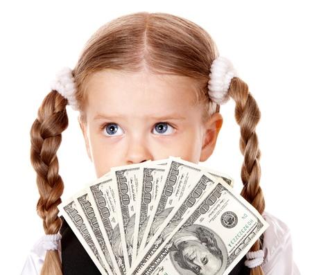 Sad child with money dollar. Isolated. Stock Photo - 10224979