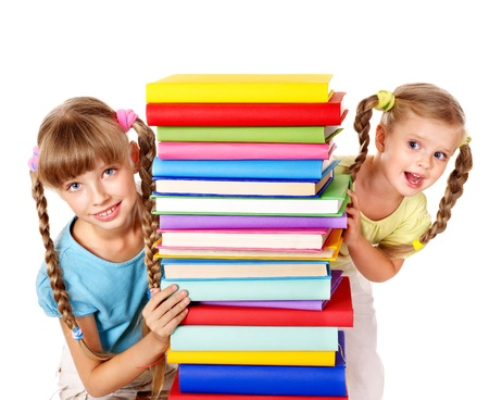 pigtails: Children reading pile of book. Isolated. Stock Photo