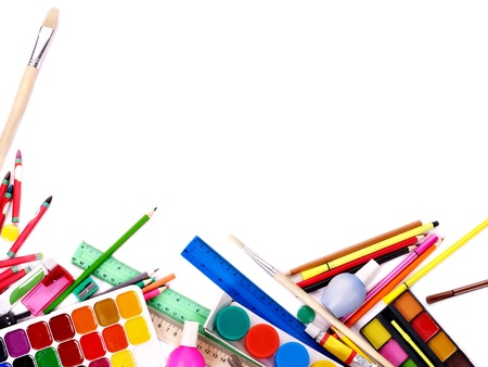 large group of items: School  office supplies on board. Stock Photo