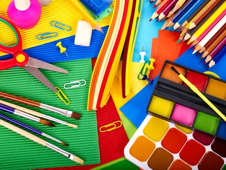 large group of items: Close up of group art school supplies.