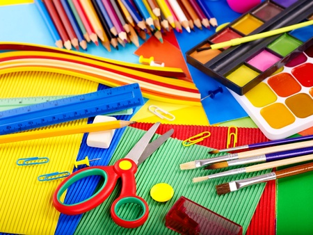 an elementary: Close up of group writing utensils. Stock Photo
