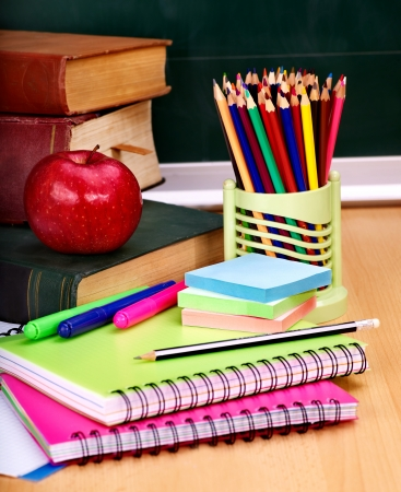 school desk: School supplies. Writing utensils. Stock Photo
