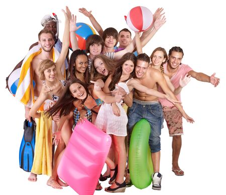 Group people holding beach accessories. Isolated. Stock Photo - 10226016