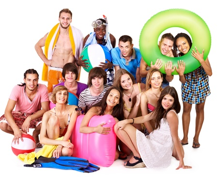 Group people holding beach accessories. Isolated. Stock Photo - 10226027